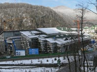 A view of the construction site of a cultural center in Krasnaya Polyana, in the Olympic mountain cluster, outside the Black Sea resort of Sochi,  Russia, on Jan. 31.
