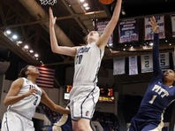 Connecticut Huskies forward Breanna Stewart grabs the rebound against the Pittsburgh Panthers during the first half at the XL Center.