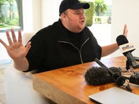 "Megaupload founder Kim Dotcom holds a press conference ahead of the launch of a new file-sharing website called ""Mega"" at his Coatesville mansion in Auckland, New Zealand, last January."