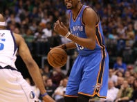 Oklahoma City Thunder forward Kevin Durant (35) had a big fourth quarter to lead his team to a win vs. Dallas.