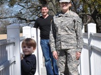 Army Capt. Kaththea Stagg and her husband, Tom Dunham, take  their children, Braxton, 4, and Gavin, 2, to a community park in Fort Bragg. Dunham is a stay-at-home dad.