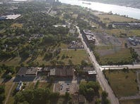 An aerial view of the area where a new U.S.-to-Canada bridge and its service plaza are planned in Delray on the Detroit side.