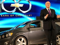 Dan Akerson, chairman and CEO of General Motors, at the world premiere of the 2012 Chevrolet Sonic during the first press preview day at the 2011 North American International Auto Show on Jan. 10, 2011,  in Detroit.