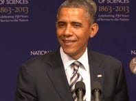 President Obama speaks at the National Academy of Sciences on April 29.