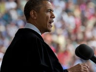 President Barack Obama gestures as he speaks during the Ohio State University spring commencement in the Ohio Stadium, Sunday, May 5, 2013,  in Columbus, Ohio.
