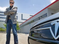 Elon Musk CEO for Tesla, with a new Model S  car.
