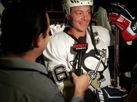 Brandon Inge is dressed in full hockey gear in support of the Penguins.