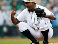 Jose Valverde reacts after retiring Andrew McCutchen for the final out.