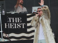 Ryan Lewis, left, and Macklemore perform their hit 'Thrift Shop' at Bonnaroo on June 16.