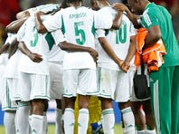Nigeria players huddle after winning 6-1 in the soccer Confederations Cup group B match between Tahiti and Nigeria in Belo Horizonte, Brazil.