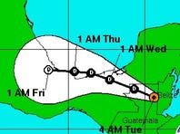 Tropical Depression Two is forecast to move to the west across southern Mexico over the next couple of days.