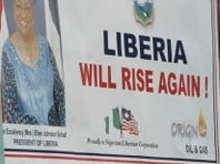 A political billboard in Monrovia, Liberia.