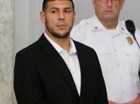 Former New England Patriots tight end Aaron Hernandez appears during a probable cause hearing Wednesday. Hernandez has pleaded not guilty to murder in the death of Odin Lloyd.