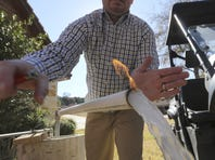 In this Nov. 26, 2012 photo, Steve Lipsky demonstrates how his well water ignites when he puts a flame to the flowing well spigot outside his family's home in rural Parker County near Weatherford, Texas.