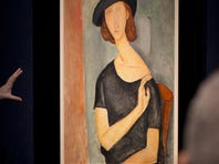 "The painting ""Jeanne Hebuterne (Au chapeau)"" by Italian artist Amedeo Modigliani sold for $42 million at Christie's auction house in February 2012."
