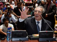 Guatemala's former dictator Jose Efrain Rios Montt speaks during his genocide trial in Guatemala City, Thursday.