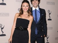 Elizabeth Hendrickson, left, and Max Ehrich arrive at the 40th Annual Daytime Emmy Awards nominee reception.