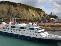 Orion Expedition Cruises' 106-passenger Orion docked in Napier, New Zealand.