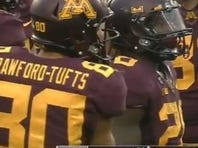 Minnesota running back Donnell Kirkwood without his helmet decal.