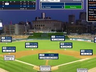 A screenshot of Gregor Blanco's two-run triple at Comerica Park that tied Game 3 of the Simulated World Series at 7 in the top of the seventh inning.