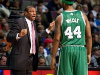 Boston Celtics head coach Doc Rivers talks to Chris Wilcox in a game earlier this year.