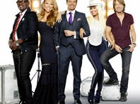 AMERICAN IDOL: Featuring host Ryan Seacrest and new judges Mariah Carey, Nicki Minaj and Keith Urban, along with returning judge Randy Jackson, the 12th season of AMERICAN IDOL begins with the exciting two-night premiere Wednesday, Jan. 16 (8:00-10:00 PM ET/PT) and Thursday, Jan. 17 (8:00-9:00 PM ET/PT).  Pictured L-R: Randy Jackson, Mariah Carey, Ryan Seacrest, Nicki Minaj and Keith Urban.