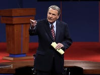 Moderator Jim Lehrer addresses the audience before the presidential debate at the University of Denver on Wednesday.