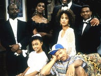'The Fresh Prince of Bel-Air' cast, featuring Will Smith, in baseball cap.