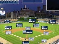 A Dynasty League Baseball screenshot for a game played at Comerica Park in Detroit.