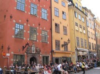 Open-air cafes line the cobblestone main square of Stockholm's Old Town, or Gamla Stan, Europe?'s largest and best-preserved medieval center.