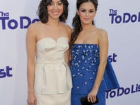 """Aubrey Plaza (in Calvin Klein Collection) and Rachel Bilson (in Oscar de la Renta) arrive at the L.A. premiere of """"The To Do List"""" on July 23."""
