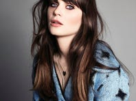 Zoey Deschanel cover the September issue of 'Marie Claire' mag.