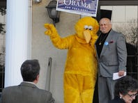 "Jake Long of Annville, poses with ""Big Bird"" outside of the Lantern Lodge Myerstown at the annual Lebanon County Democrats Jefferson-Jackson Dinner."