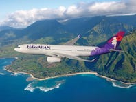 A Hawaiian Airlines Airbus A330-200 is seen flying above Hawaii in an image provided by the carrier.