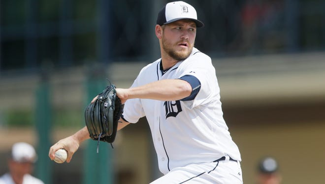 Detroit Tigers pitcher Alex Wilson throws during a spring training game against the New York Yankees in Lakeland, Fla., on March 20, 2015.
