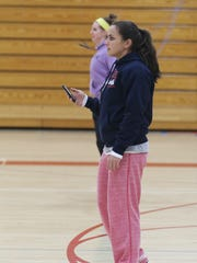 Assistant coach Karin Kedrowski during Pacelli girls