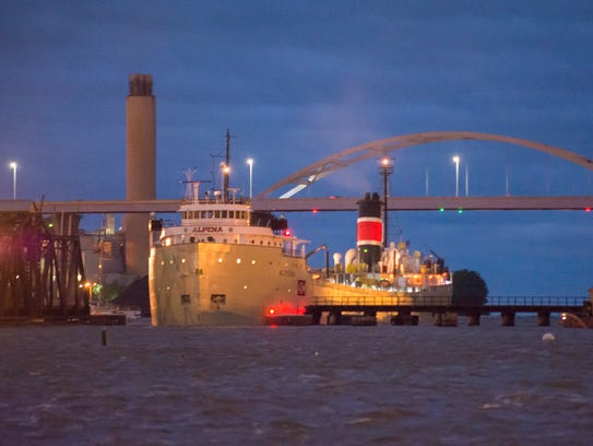 The Alpena, a 519-foot-long ship arrives  with  a load