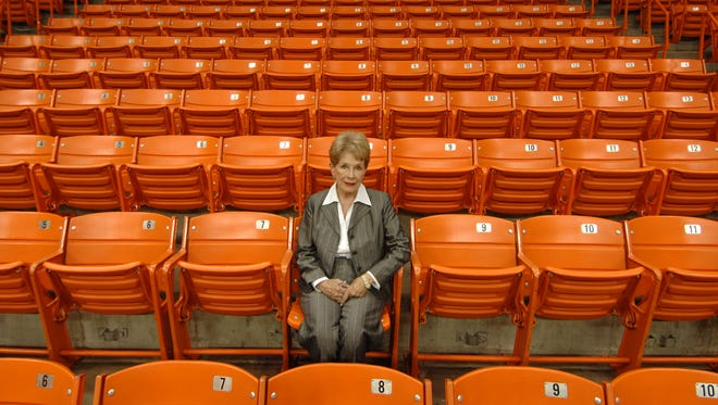 Mary Haskins, wife of Hall of Fame and former UTEP head coach Don Haskins, poses for a photo in the Don Haskins Center on the campus of the University of Texas at El Paso.
