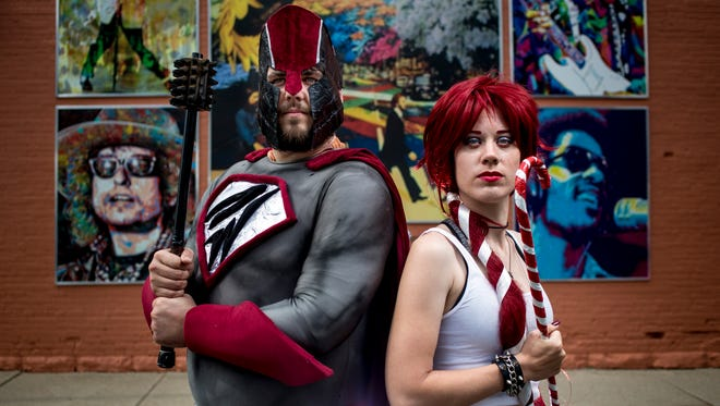 Jon Moriconi poses as Deathwish and Mads Cherluck poses as Kandi Kane. The first Marine City International Comic Con will be held August 6 in downtown Marine City.