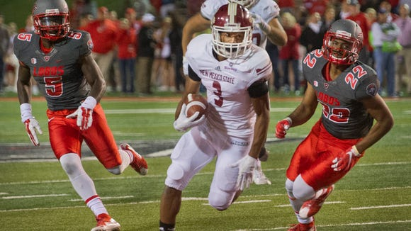 NMSU running back Larry Rose III and the Aggies opened spring workouts on Monday.