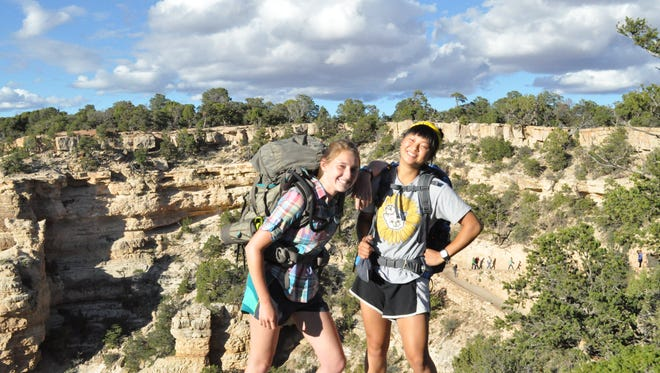 Katelyn Conrad and Jessica Jia, backpacking the Grand Canyon in August.
