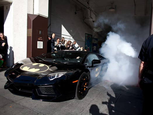 Batman and Batkid exit their cave at Union Square on Nov. 15 in San Francisco. The Greater Bay Area Make-A-Wish Foundation  turned the city into Gotham City for Miles Scott, 5, by creating a day-long event bringing to life his wish to be a Batkid.