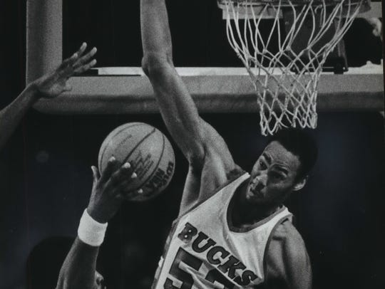A shot by the Philadelphia 76ers' Moses Malone was