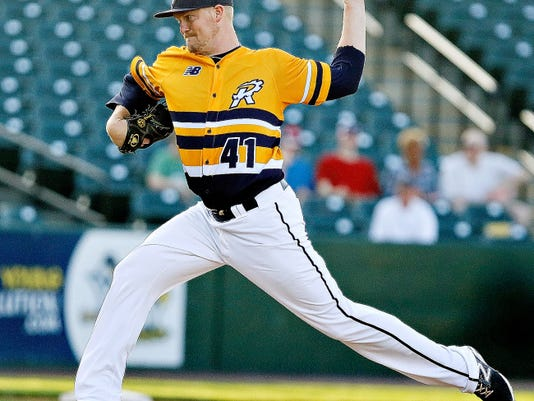 York's Rommie Lewis pitches against Southern Maryland on Monday night. Lewis suffered his first loss of the season.