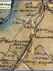 Mount Wolf area of Shearer's 1860 Map of York County, Pa. (Current Road Names Annotated by S. H. Smith, 2015)