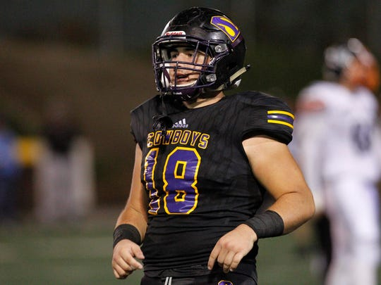 Salinas linebacker Nathan Martorella had a standout performance in Friday's win with his seventh sack of the year and a pick-six.