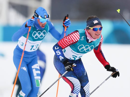 Scott Patterson (USA) competes during men's cross-country skiing 15km x 15km skiathlon in the Pyeongchang 2018 Olympic Winter Games at Alpensia Cross-Country Centre.