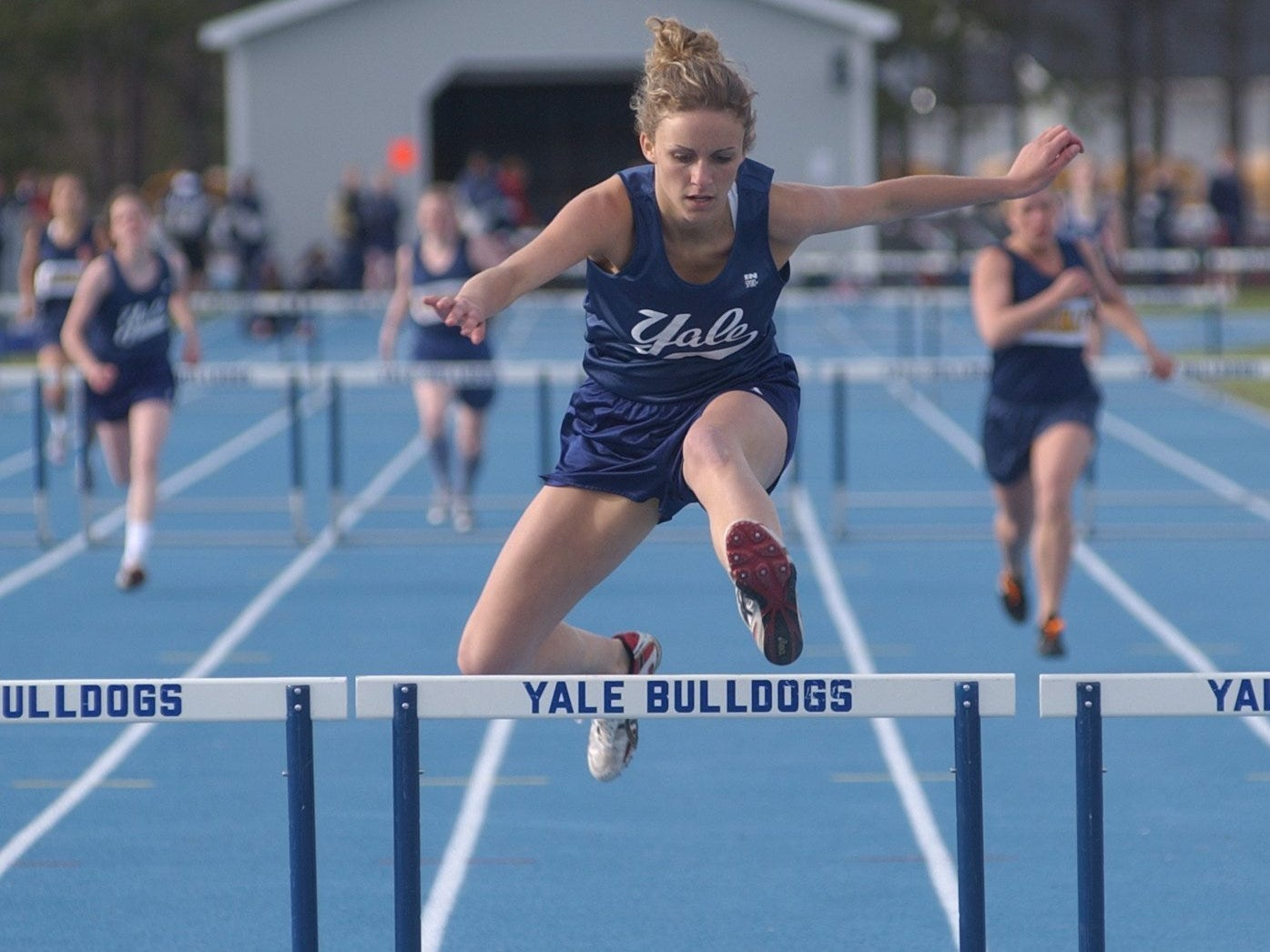 Yale's Courtney Kersten shares the Blue Water Meet of Champions record in the 100 hurdles with Raquel Tuma of Algonac at 15.1 seconds.