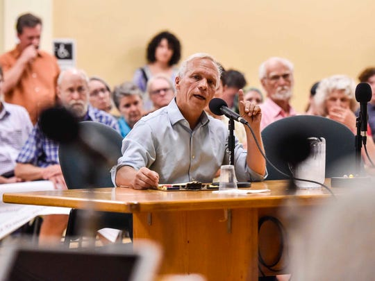 Alan Matson, chairman of the Keep BT Local board, one of three bidders being considered in the sale of BT Telecom, speaks in favor of the effort during a public comment portion of a meeting of the Burlington City Council on Monday, September 25, 2017.