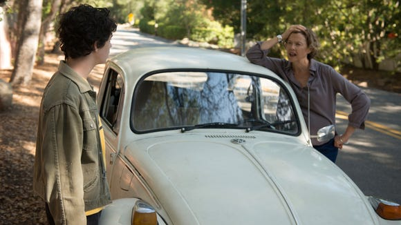 """Annette Bening (right) and Lucas Zade Zumann trade words in """"20th Century Women."""""""
